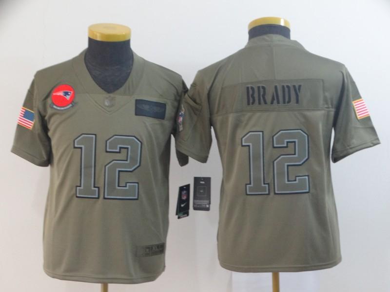 Nike Patriots 12 Tom Brady 2019 Olive Youth Salute To Service Limited Jersey