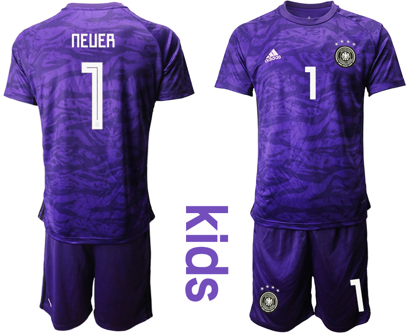 2019-20 Germany 1 NEUER Purple Goalkeeper Youth Soccer Jersey