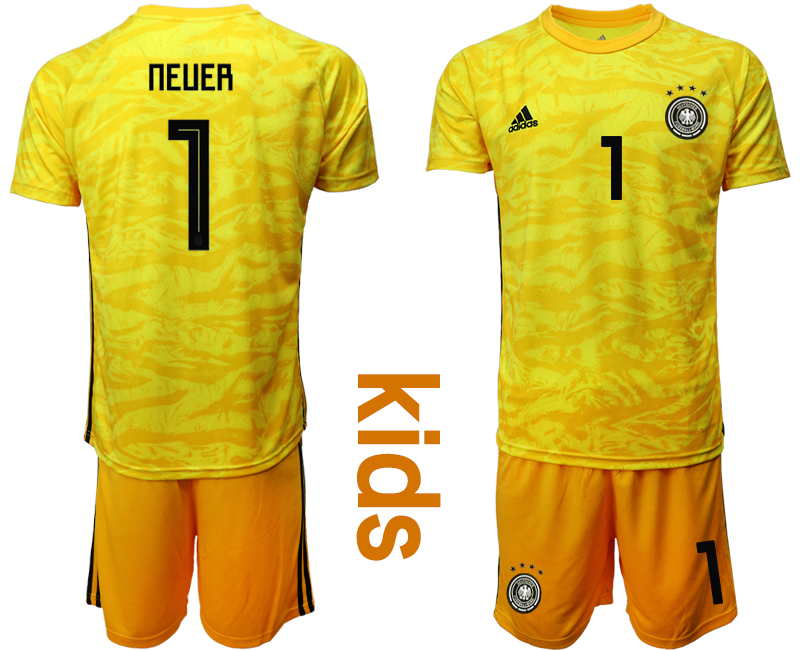 2019-20 Germany 1 NEUER Yellow Goalkeeper Youth Soccer Jersey