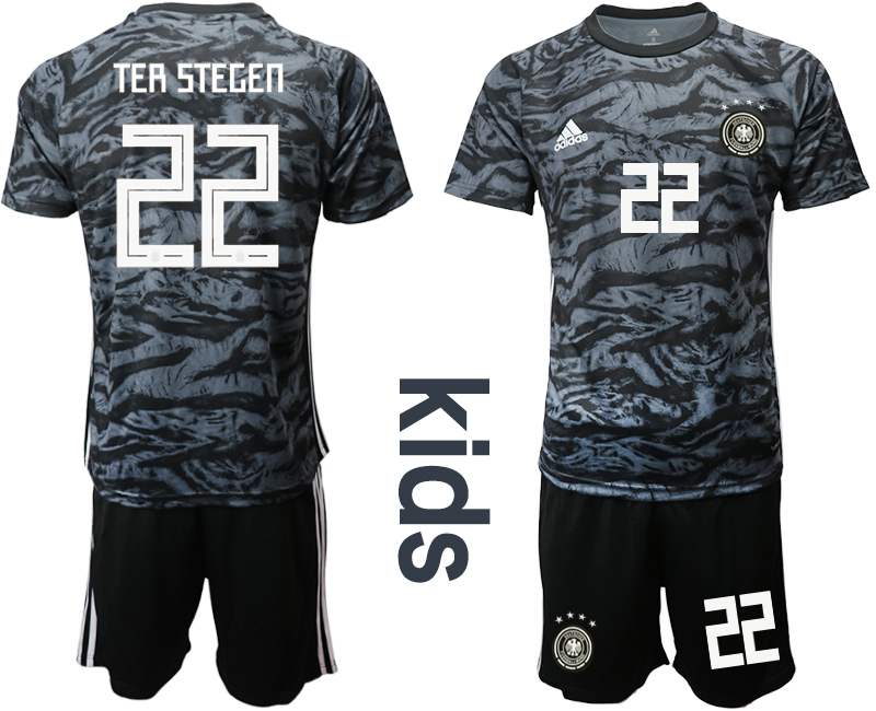 2019-20 Germany 22 TER STEGEN Black Goalkeeper Youth Soccer Jersey