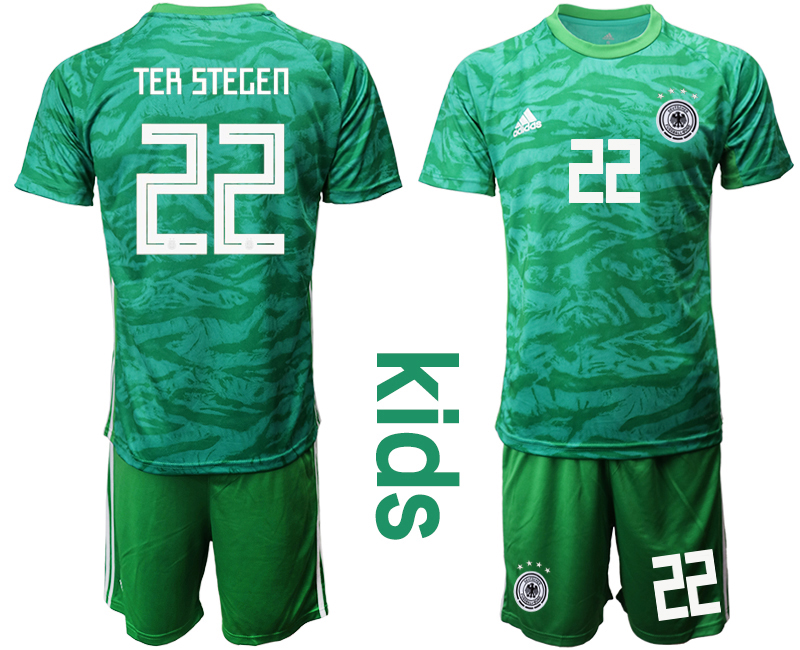 2019-20 Germany 22 ter TER STEGEN Green Goalkeeper Youth Soccer Jersey