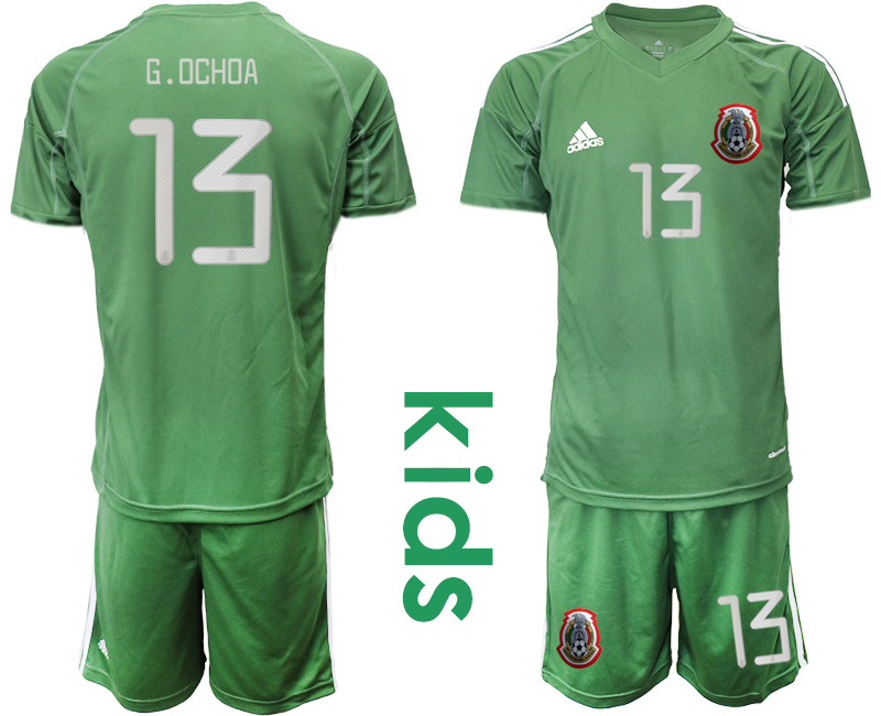 2019-20 Mexico Arm Green 13 G.OCHOA Youth Goalkeeper Soccer Jersey