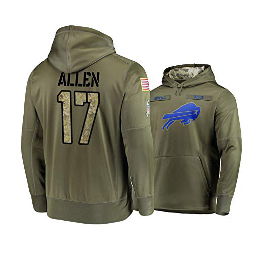 Nike Bills 17 Josh Allen 2019 Salute To Service Stitched Hooded Sweatshirt