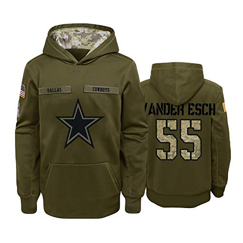 Nike Cowboys 55 Leighton Vander Esch 2019 Salute To Service Stitched Hooded Sweatshirt