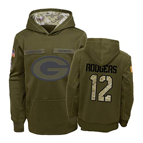 Nike Packers 12 Aaron Rodgers 2019 Salute To Service Stitched Hooded Sweatshirt