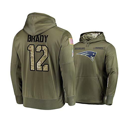 Nike Patriots 12 Tom Brady 2019 Salute To Service Stitched Hooded Sweatshirt