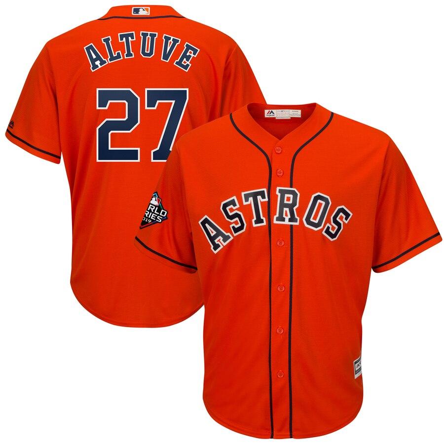 Astros 27 Jose Altuve Orange 2019 World Series Bound Cool Base Jersey