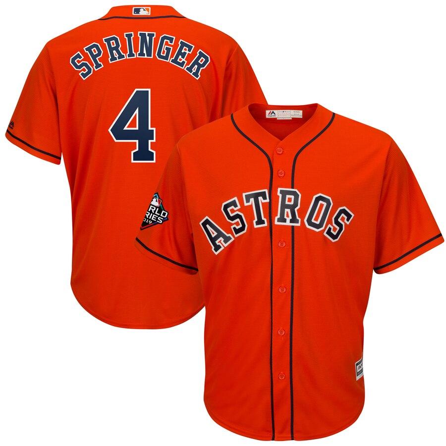 Astros 4 George Springer Orange 2019 World Series Bound Cool Base Jersey