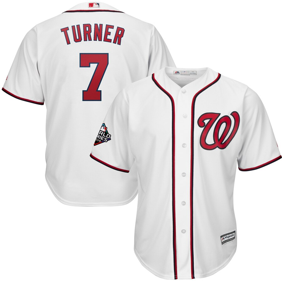 Nationals 7 Trea Turner White 2019 World Series Bound Cool Base Jersey