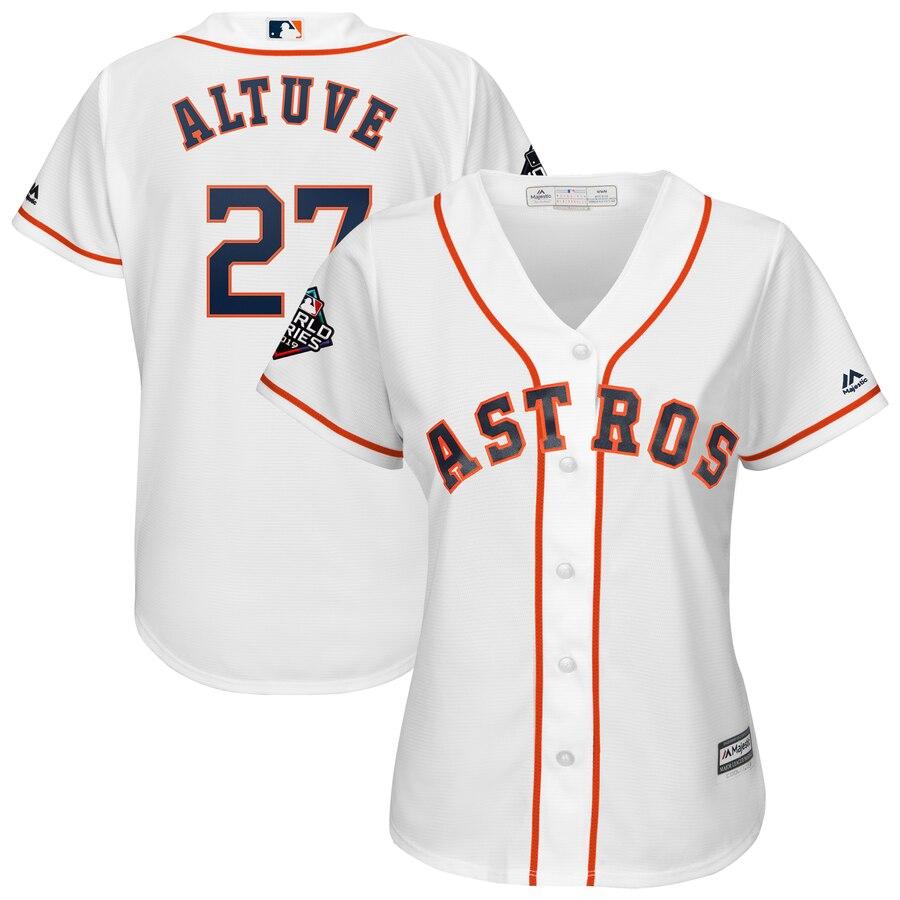 Astros 27 Jose Altuve White Women 2019 World Series Bound Cool Base Jersey