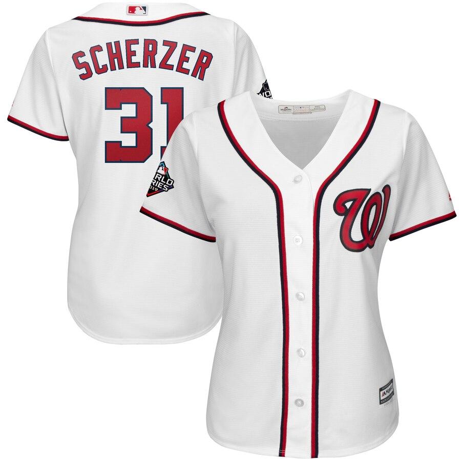 Nationals 31 Max Scherzer White Women 2019 World Series Bound Cool Base Jersey