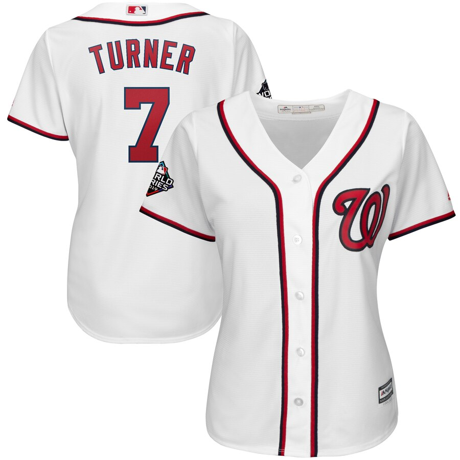 Nationals 7 Trea Turner White Women 2019 World Series Bound Cool Base Jersey