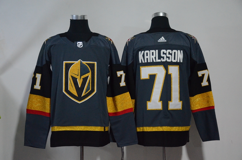 Vegas Golden Knights 71 William Karlsson Gray With Special Glittery Logo Adidas Jersey