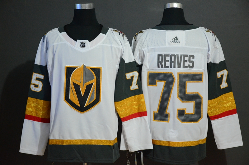 Vegas Golden Knights 75 Ryan Reaves White With Special Glittery Logo Adidas Jersey