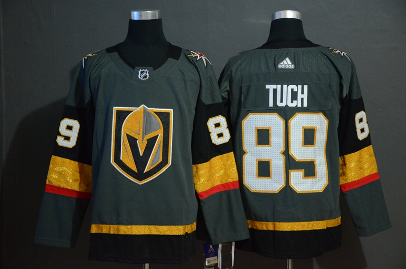 Vegas Golden Knights 89 Alex Tuch Gray With Special Glittery Logo Adidas Jersey