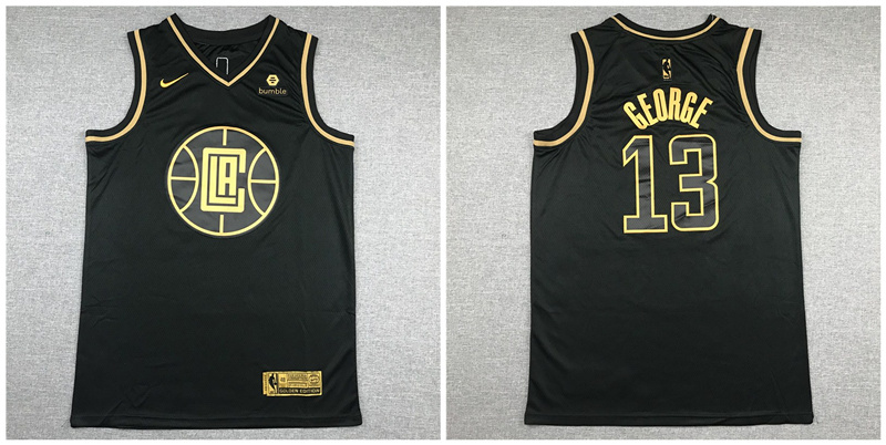 Clippers 13 Paul George Black Gold Nike Swingman Jersey