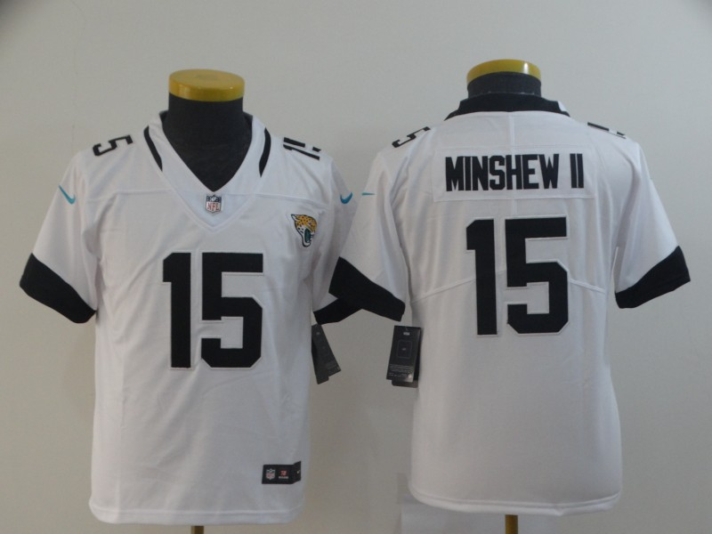 Nike Jaguars 15 Gardner Minshew II White Youth Vapor Untouchable Limited Jersey