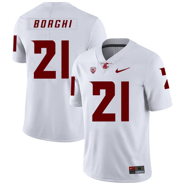 Washington State Cougars 21 Max Borghi White College Football Jersey