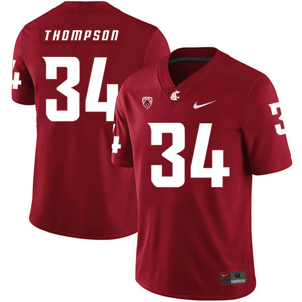 Washington State Cougars 34 Jalen Thompson Red College Football Jersey