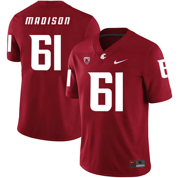 Washington State Cougars 61 Cole Madison Red College Football Jersey