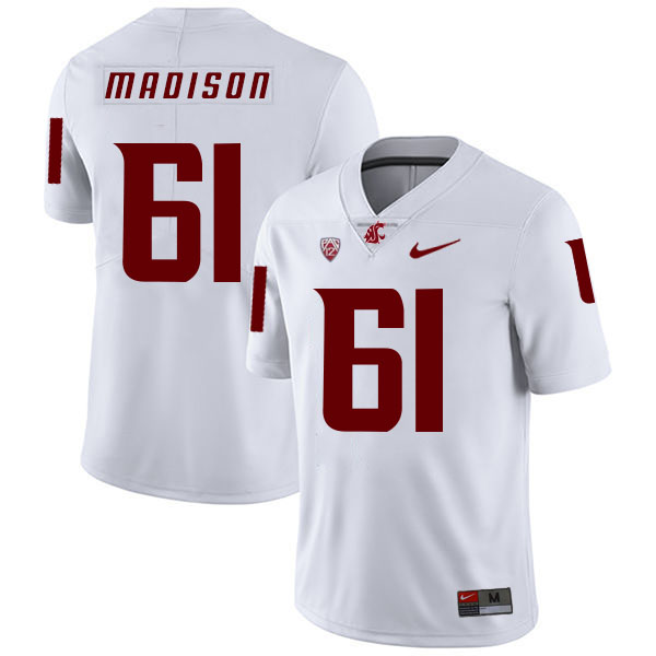 Washington State Cougars 61 Cole Madison White College Football Jersey