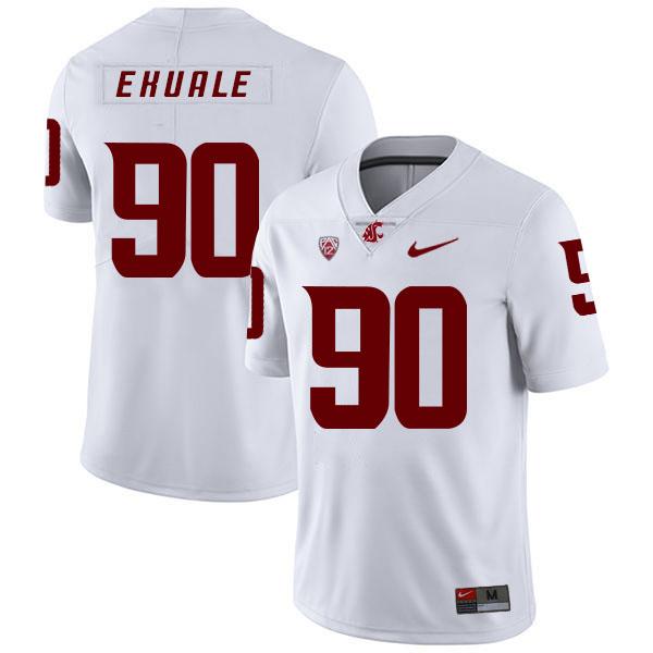 Washington State Cougars 90 Daniel Ekuale White College Football Jersey