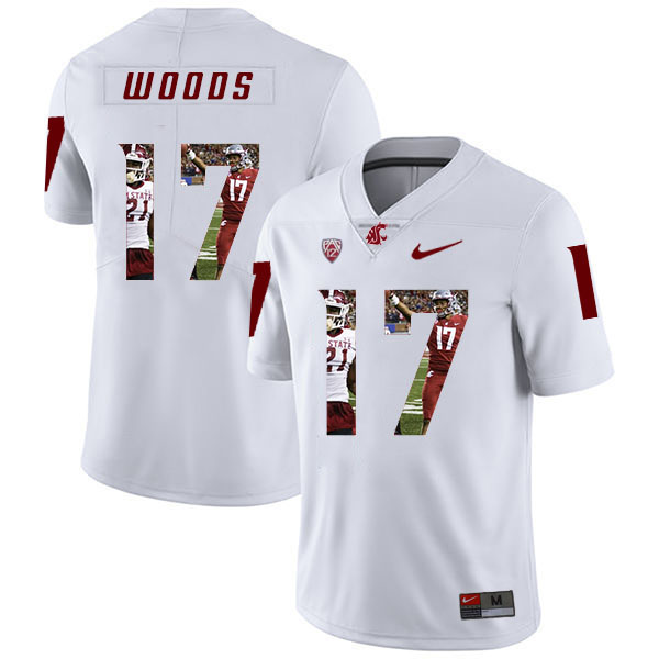 Washington State Cougars 17 Kassidy Woods White Fashion College Football Jersey