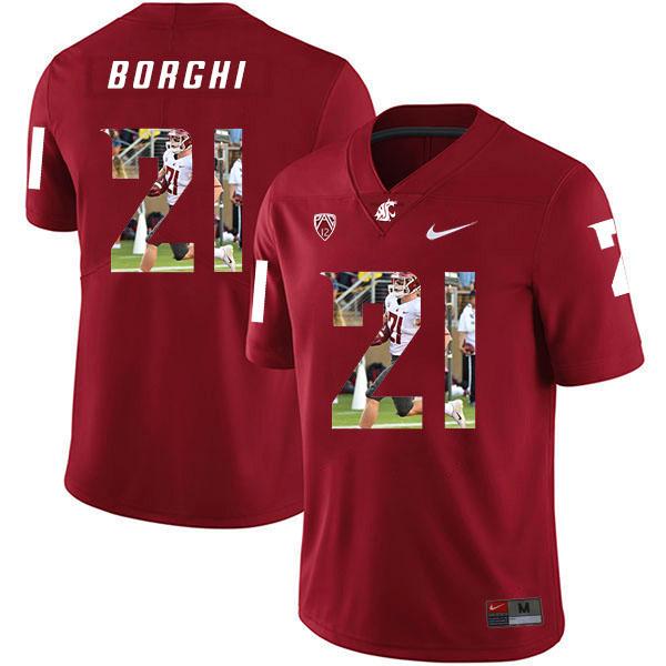 Washington State Cougars 21 Max Borghi Red Fashion College Football Jersey