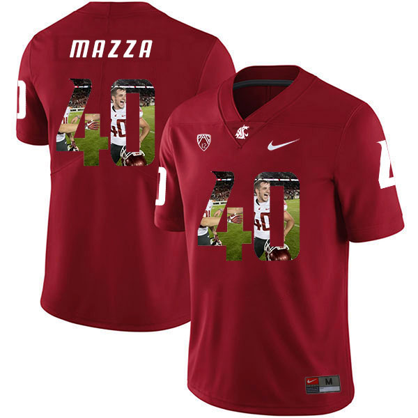 Washington State Cougars 40 Blake Mazza Red Fashion College Football Jersey