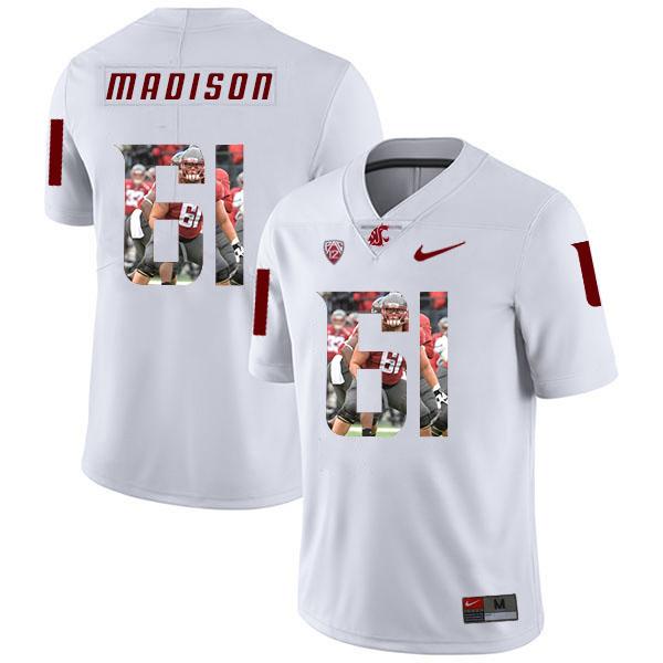 Washington State Cougars 61 Cole Madison WhiteFashion College Football Jersey