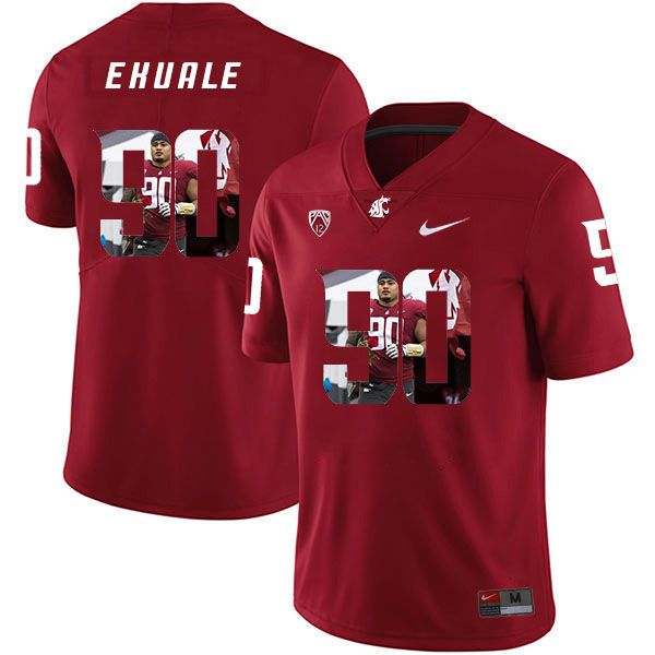 Washington State Cougars 90 Daniel Ekuale Red Fashion College Football Jersey