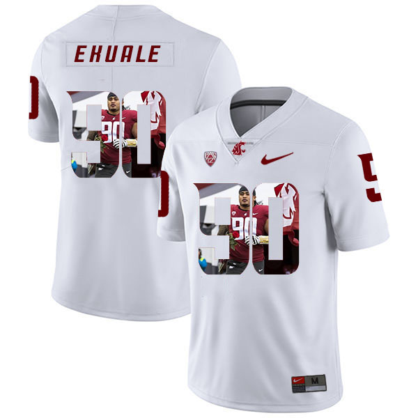 Washington State Cougars 90 Daniel Ekuale White Fashion College Football Jersey