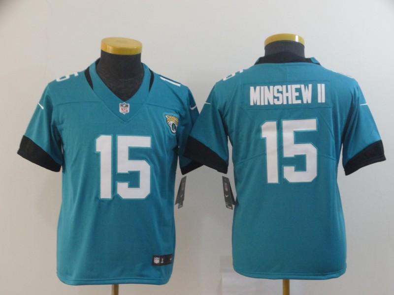 Nike Jaguars 15 Gardner Minshew II Teal Youth Vapor Untouchable Limited Jersey