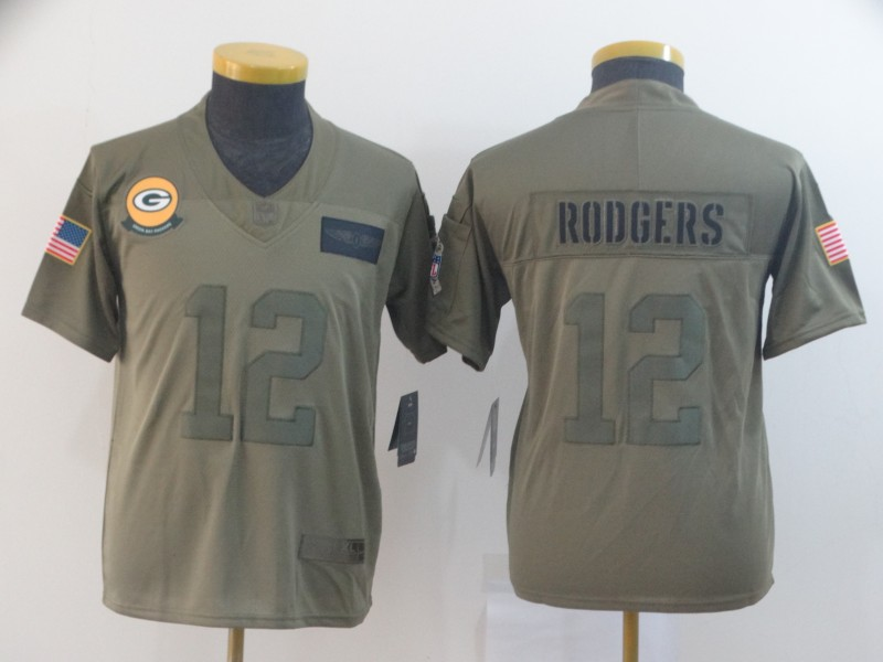 Nike Packers 12 Aaron Rodgers 2019 Olive Youth Salute To Service Limited Jersey