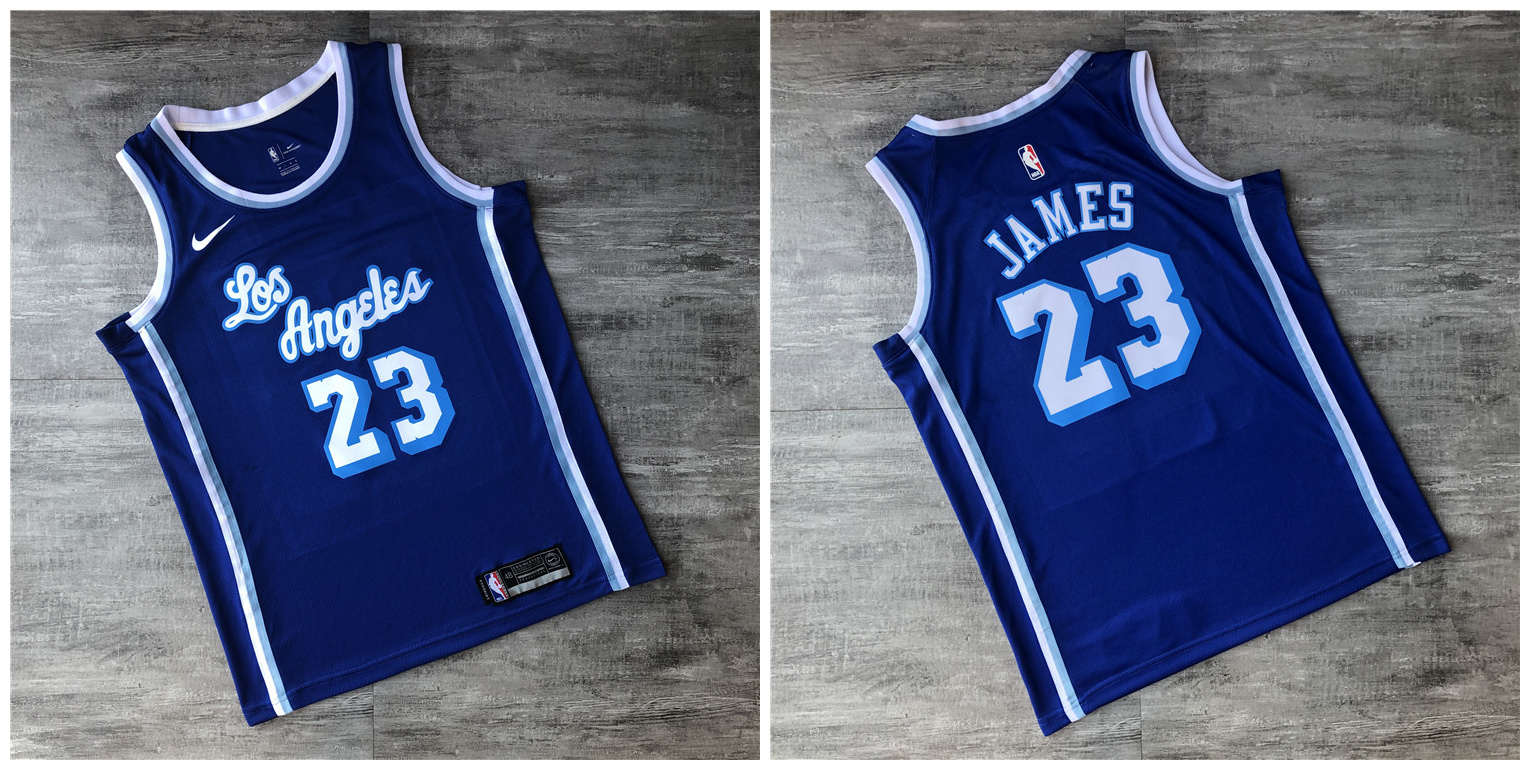 Lakers 23 Lebron James Blue Printed Nike Swingman Jersey