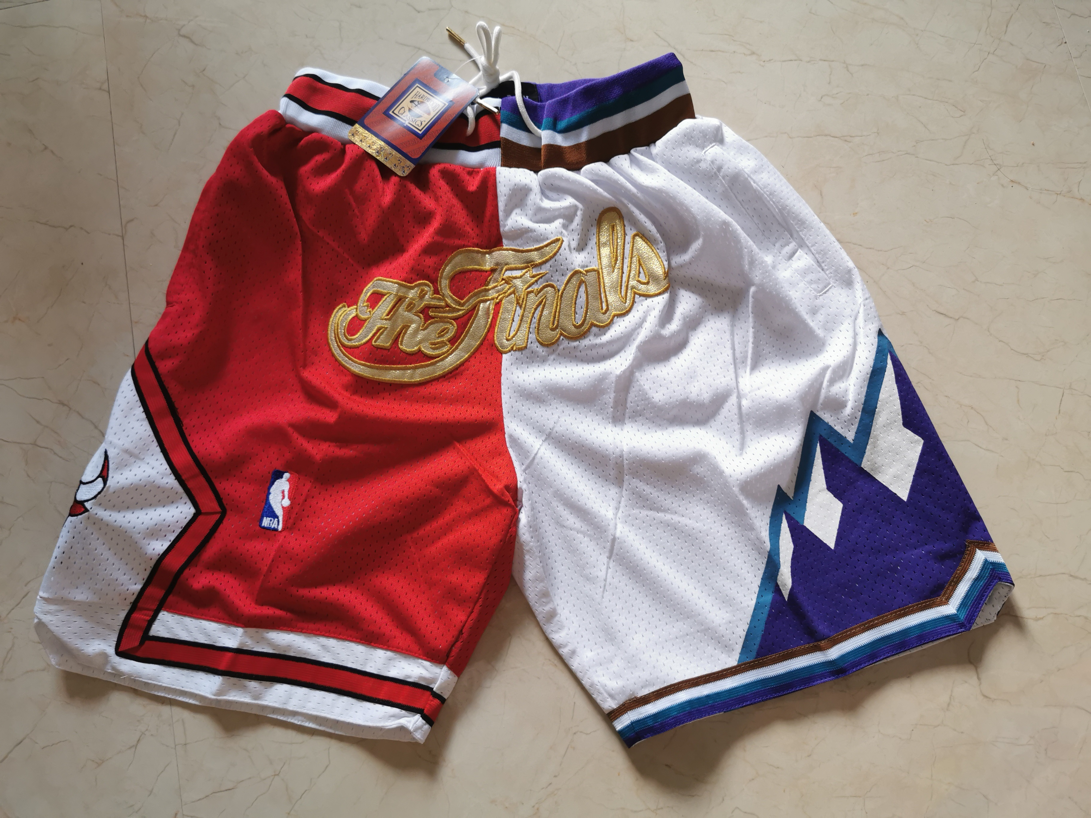 Bulls And Jazz Split White Just Don Throwback Mesh Shorts
