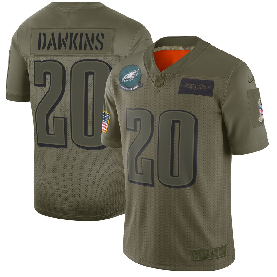 Nike Eagles 20 Brian Dawkins 2019 Olive Salute To Service Limited Jersey