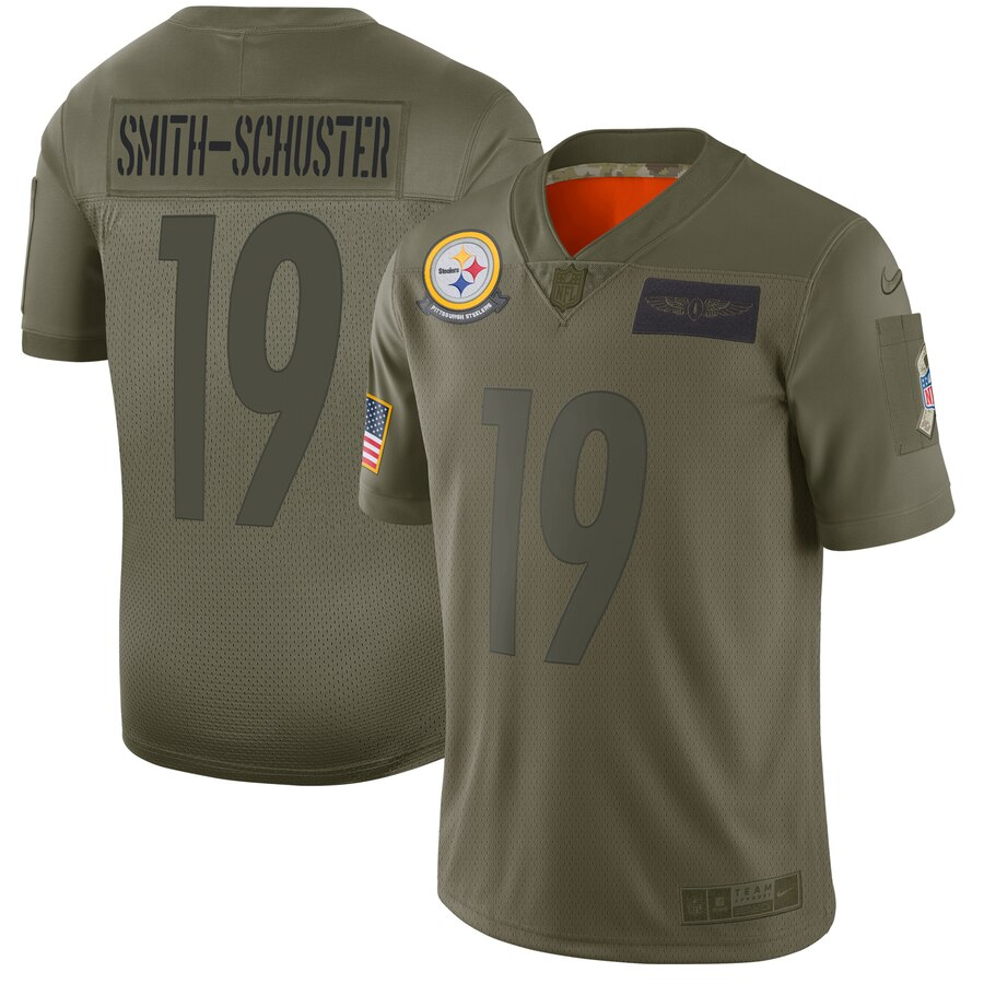 Nike Steelers 19 JuJu Smith-Schuster 2019 Olive Salute To Service Limited Jersey