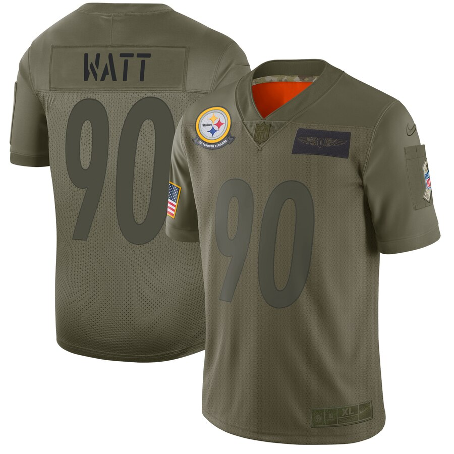 Nike Steelers 90 T.J. Watt 2019 Olive Salute To Service Limited Jersey