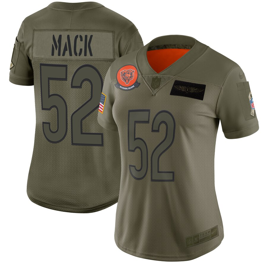 Nike Bears 52 Khalil Mack 2019 Olive Women Salute To Service Limited Jersey