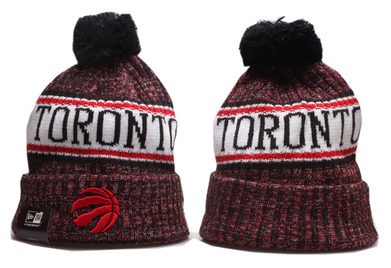 Raptors Team Logo Cuffed Pom Knit Hat YP