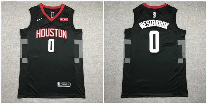 Rockets 0 Russell Westbrook Black Nike Authentic Jersey