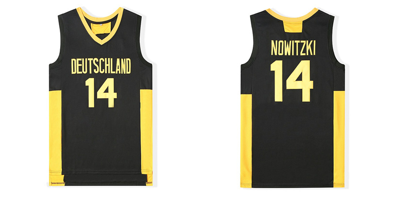 Deutschland 14 Dirk Nowitzki Navy Stitched Movie Basketball Jersey