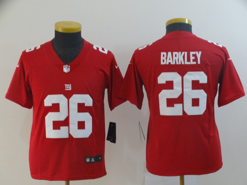 Nike Giants 26 Saquon Barkley Red Youth Inverted Legend Limited Jersey