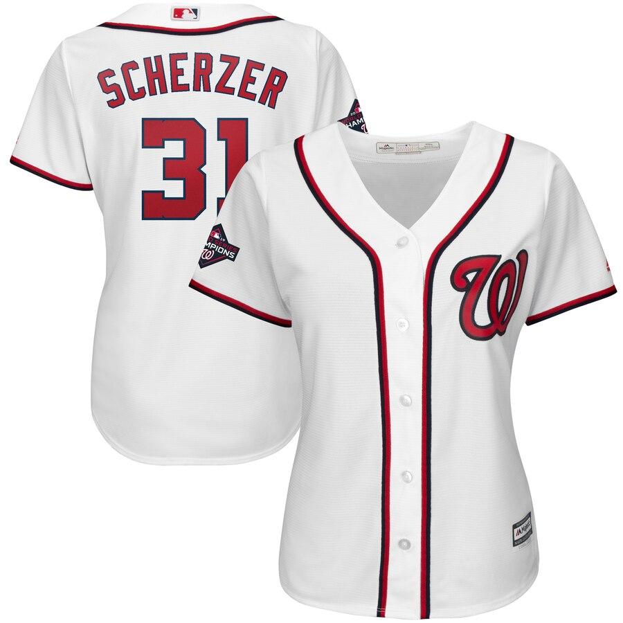Nationals 31 Max Scherzer White Women 2019 World Series Champions Cool Base Jersey