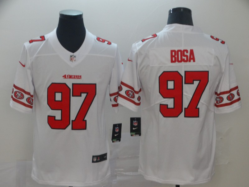 Nike 49ers 97 Nick Bosa White Team Logos Fashion Vapor Limited Jersey