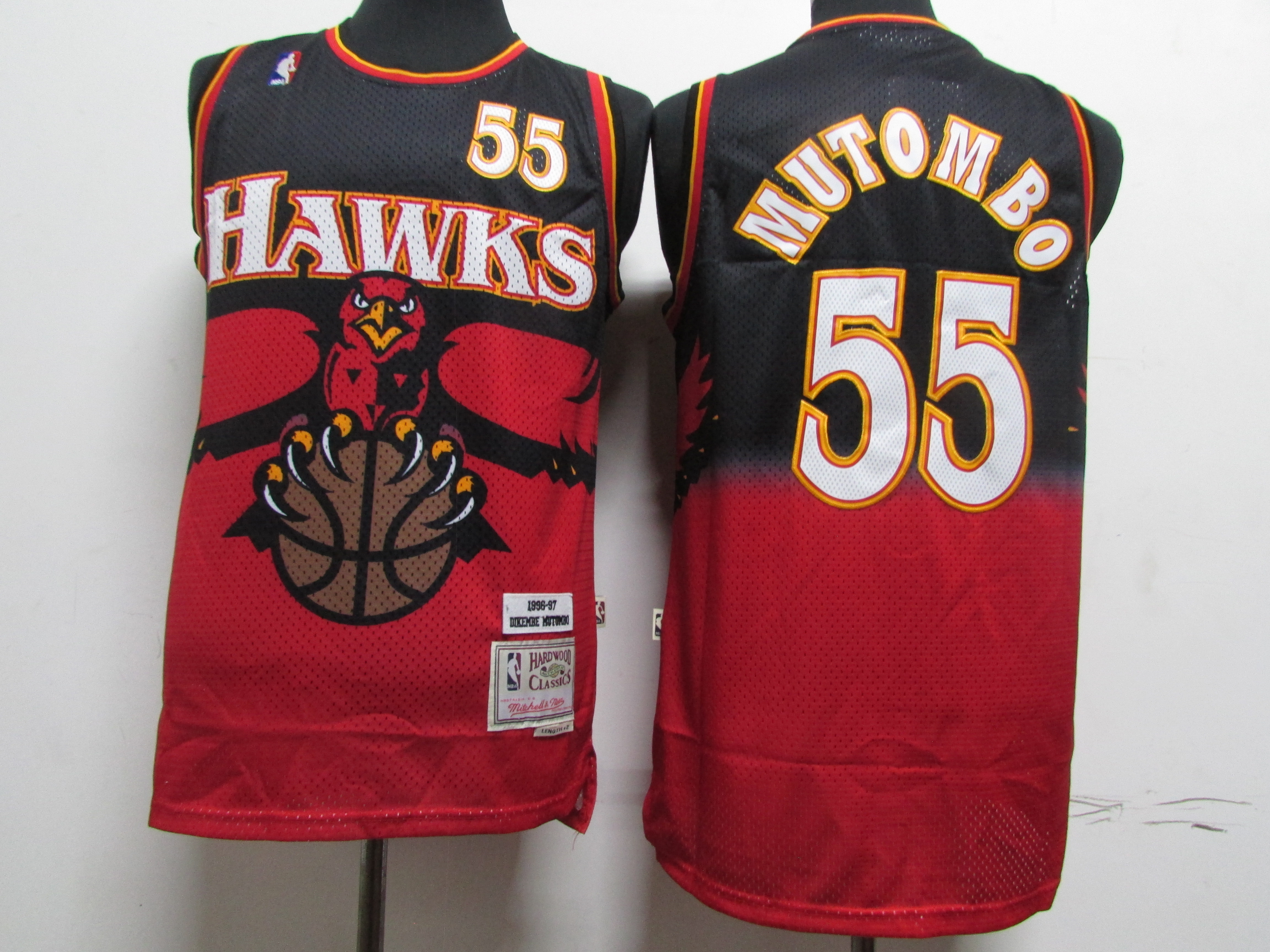 Hawks 55 Dikembe Mutombo Red Hardwood Classics Jersey