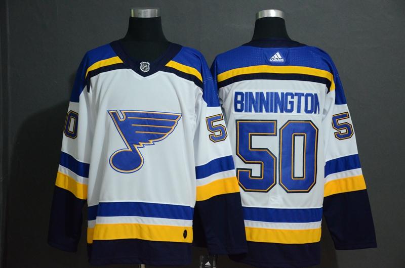 Blues 50 Jordan Binnington White Adidas Jersey