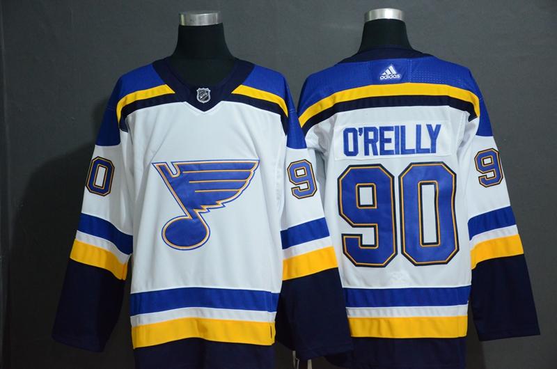 Blues 90 Ryan O'Reilly White Adidas Jersey