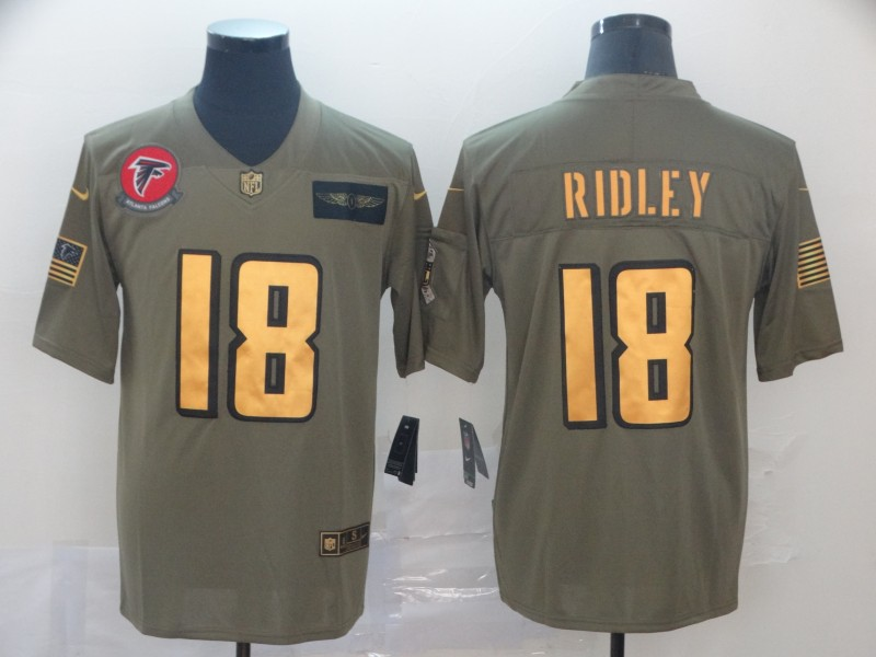 Nike Falcons 18 Calvin Ridley 2019 Olive Gold Salute To Service Limited Jersey